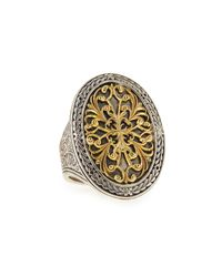 Konstantino | Metallic Silver & 18k Gold Filigree Top Oval Ring | Lyst
