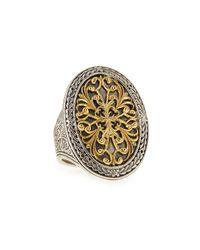 Konstantino | Metallic Silver & 18k Gold Filigree Top Oval Ring | Lyst