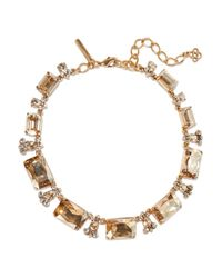 Oscar de la Renta | Metallic Gold-tone Crystal Necklace | Lyst