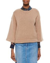 See By Chloé - Brown 3/4-sleeve Sweater With Braided Detail - Lyst