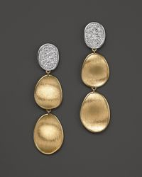Marco Bicego | Metallic Diamond Lunaria Three Drop Small Earrings In 18k Gold | Lyst