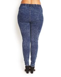 Forever 21 - Blue Acid Wash Denim Jeggings - Lyst