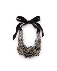 Vera Wang Collection | Metallic Applique Tie Necklace Gold | Lyst
