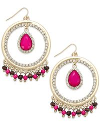 INC International Concepts | Pink Gold-Tone Fuchsia Gypsy Hoop Earrings | Lyst