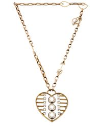 Lanvin | Metallic Heart Pendant Necklace | Lyst