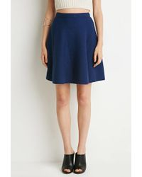Forever 21 | Blue Ribbed Knit Skater Skirt | Lyst