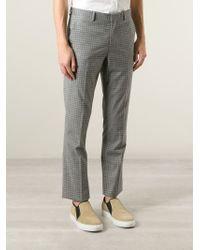 Paul Smith - Gray Gingham Check Trousers for Men - Lyst