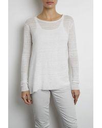 INHABIT | White Texture Stripe U-neck | Lyst
