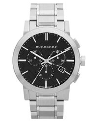 Burberry | Metallic Check Stamped Chronograph Bracelet Watch for Men | Lyst