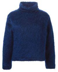 MSGM - Blue Boxy Fit Sweater - Lyst