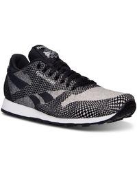 Reebok - Gray Men's Cl Runner Jacquard Casual Sneakers From Finish Line for Men - Lyst