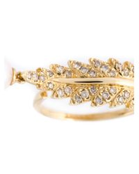 Elise Dray | Metallic Embellished Leaf Ring | Lyst