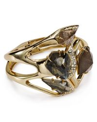 Alexis Bittar | Metallic Miss Havisham Crystal Encrusted Moonstone & Pyrite Sculptural Bangle | Lyst