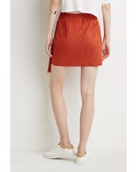 Forever 21 | Orange Fringed Faux Suede Skirt | Lyst