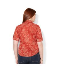 Lauren by Ralph Lauren - Red Plus Size Tabsleeve Floralprint Shirt - Lyst