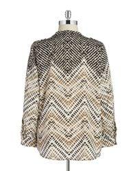 Calvin Klein | Black Plus Abstract Button-down Blouse | Lyst