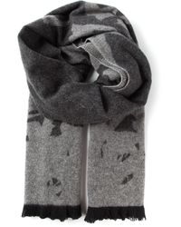 McQ | Gray Swallow Motif Scarf for Men | Lyst