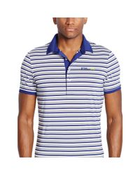 Ralph Lauren - Blue Slim-fit Striped Polo Shirt for Men - Lyst