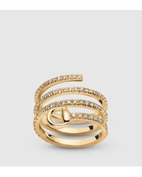 Gucci | Horsebit Ring In Yellow Gold And Diamonds | Lyst