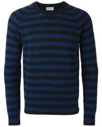 Saint Laurent - Blue Striped Sweater for Men - Lyst