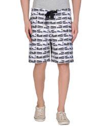 KENZO - White Waveprint Neoprene Shorts for Men - Lyst