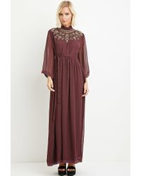 Forever 21 | Purple Sequin Chiffon Maxi Dress | Lyst