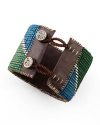 Love Heals - Green Beaded Leather Cuff - Lyst