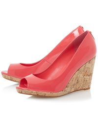 Dune - Natural Celia Cork Wedge Peep Toe Court Shoes - Lyst