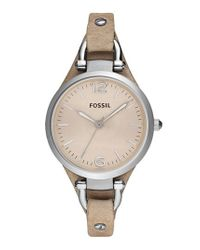 Fossil | Metallic 'georgia' Leather Strap Watch | Lyst