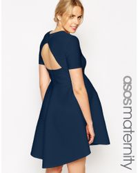 ASOS - Blue Skater Dress In Texture With Cut Out Back - Lyst