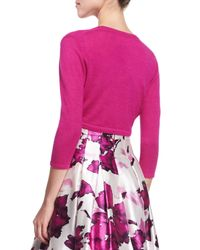 Oscar de la Renta - Pink Cashmere/silk Knit Bolero - Lyst