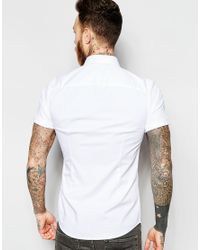 ASOS - White Skinny Shirt In Twill With Short Sleeves for Men - Lyst