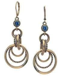 T Tahari | Blue Crystal And Circular Drop Earrings | Lyst