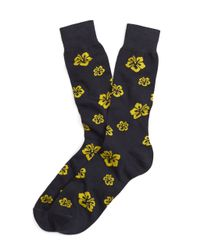 Brooks Brothers | Blue Hibiscus Crew Socks for Men | Lyst