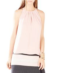 BCBGMAXAZRIA | Pink Kymberly Pleated Tank | Lyst