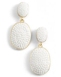 kate spade new york - White 'pave The Way' Drop Earrings - Lyst