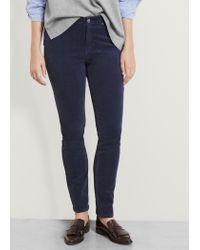 Violeta by Mango - Blue Slim-fit Corduroy Trousers - Lyst