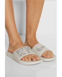 Nike - Gray Nyc Benassi Jdi Print Embroidered Leather And Foam Slides - Lyst