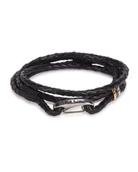 Paul Smith - Black Woven Leather Wrap Bracelet - Lyst