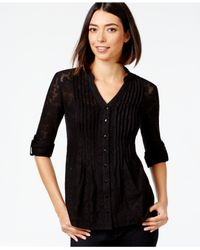 Style & Co. | Black Pintucked Button-front Lace Blouse, Only At Macy's | Lyst