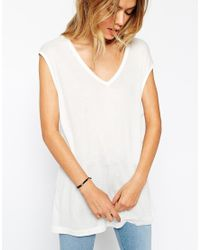 ASOS - White Slouchy Tank Top In Rib With V Neck - Lyst