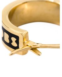 Marc By Marc Jacobs | Black Enamel Logo Mini Hoop Earrings | Lyst