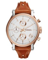 Fossil | Brown 'original Boyfriend' Chronograph Leather Strap Watch | Lyst