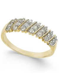 Macy's | Diamond Multi-row Band (1/5 Ct. T.w.) In 10k Yellow Gold | Lyst