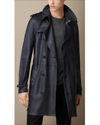 Burberry - Blue Lambskin Trench Coat for Men - Lyst