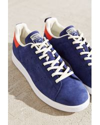 Adidas Originals | Blue Leather Nubuck Stan Smith Sneaker | Lyst