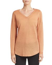 Eileen Fisher | Orange Merino Wool V-neck Sweater | Lyst