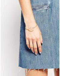 ASOS - Metallic Fine Open Cuff Bracelet - Lyst