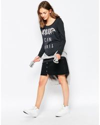 Zoe Karssen | Gray Paris Can Wait Loose Fit Long Sleeve Jersey Top | Lyst