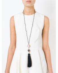 Katerina Psoma - Black Tassel Pendant Beaded Necklace - Lyst